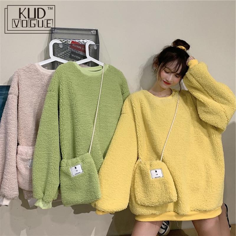 Harajuku Oversized Hoodie Sweatshirt Women Plush Warm Pullover Tops Cute Candy Color Pink/Yellow/Green Kawaii Sweatshirt Jumper