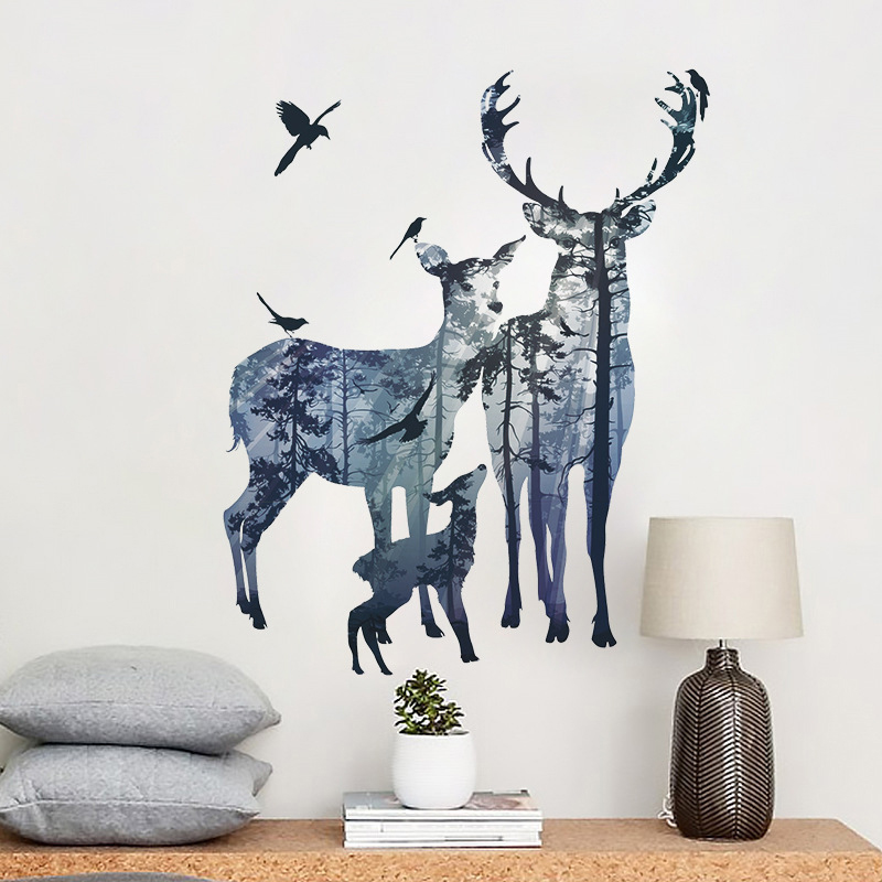 Nordic Ins Elk Silhouette Wall Sticker Living Room Wall Decor Stickers Bedroom Decor Self-adhesive Room Decoration Home Decor