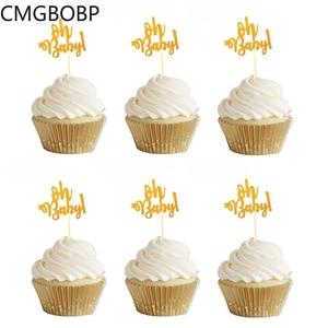 Image 1 - 10Pcs Glitter Goud Oh Baby Cupcake Toppers Oh Jongen Meisje Baby Shower Ballon 1st Gelukkige Verjaardag Taart Decoratie Kids feestartikelen