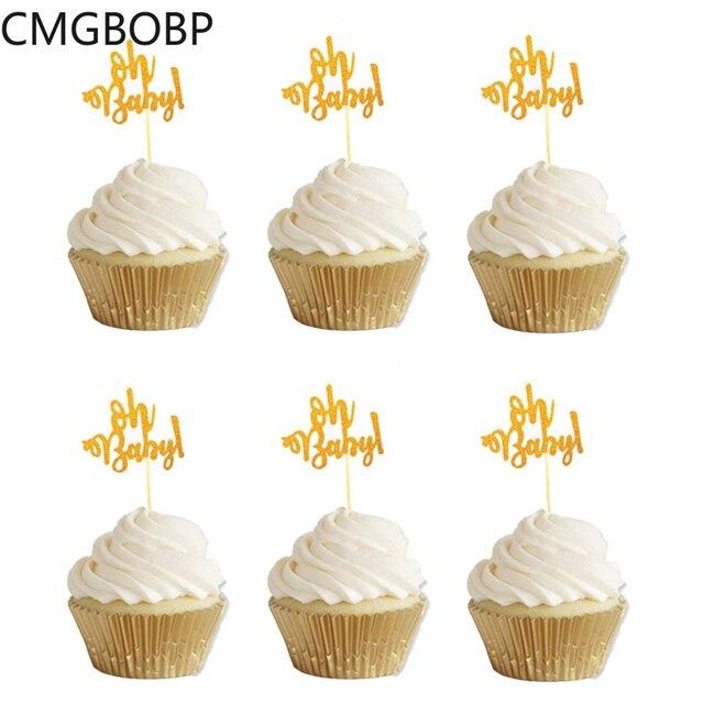 10Pcs Glitter Goud Oh Baby Cupcake Toppers Oh Jongen Meisje Baby Shower Ballon 1st Gelukkige Verjaardag Taart Decoratie Kids feestartikelen