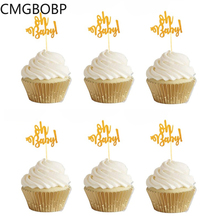 10pcs Glitter Gold Oh Baby Cupcake Toppers Oh Boy Girl Baby Shower Ballon 1st Happy Birthday Cake Decoration Kids Party Supplies