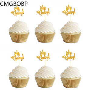 Image 1 - 10pcs Glitter Gold Oh Baby Cupcake Toppers Oh Boy Girl Baby Shower Ballon 1st Happy Birthday Cake Decoration Kids Party Supplies