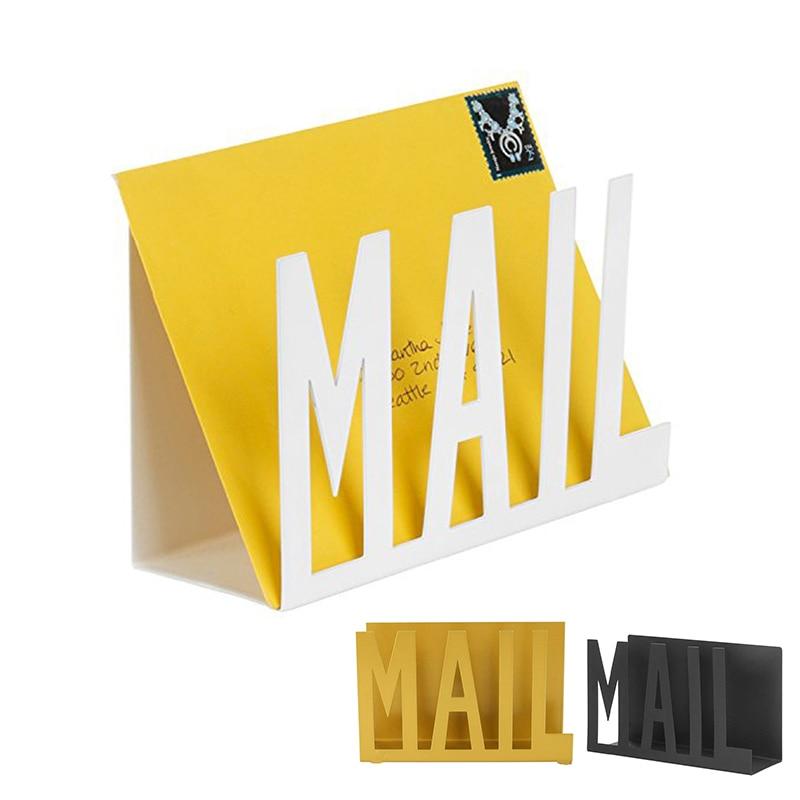 Creative Desk Iron Mail Letter Holder Home Bedroom Office Envelope Organizer File Book Rack