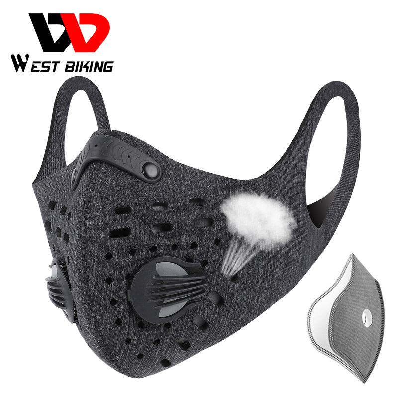 WEST BIKING Sports Cycling Face Mask PM2.5 Anti-pollution Activated Carbon Half Face Shield Washable Mask With Filter Men