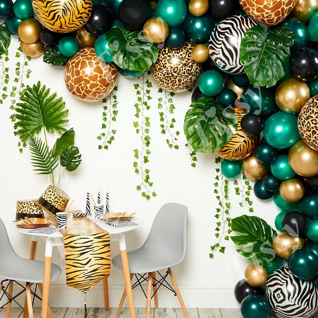 1set Leopard Print Balloons Palm Leaves For Wild Jungle Safari Animal Party Decoration Baby Shower Kids Birthday Party Supplies