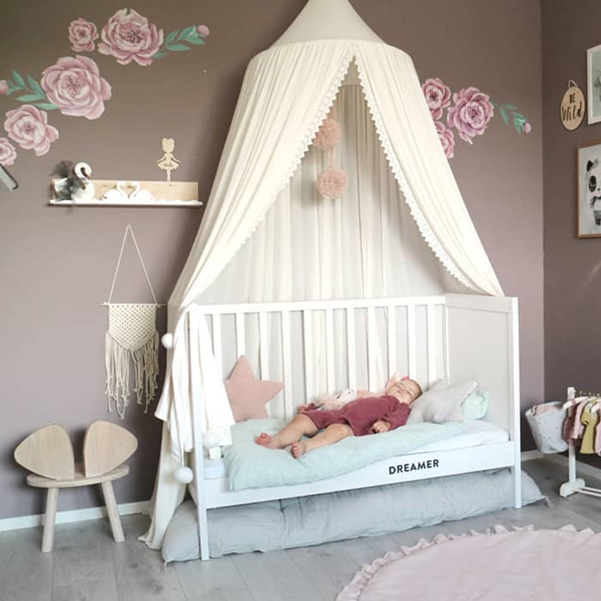 - Chiffon Baby Room Mosquito Net Kid Bed Curtain Canopy Round Crib