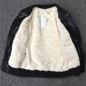 Image 4 - Blouson dautomne en cuir PU pour enfants, manteaux chauds en velours, nouvelle collection de printemps, vêtements dextérieur en coton
