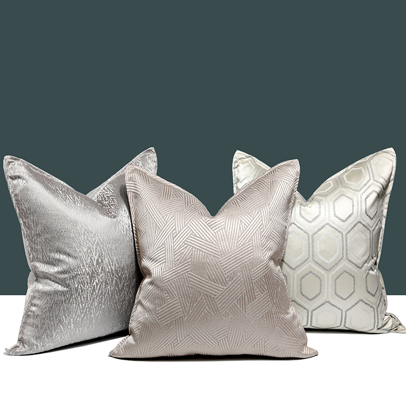 DUNXDECO Cushion Cover Decorative Pillow Case Modern Simple Luxury Jacquard Champagne Silver Coussin Sofa Chair Bedding Cushion