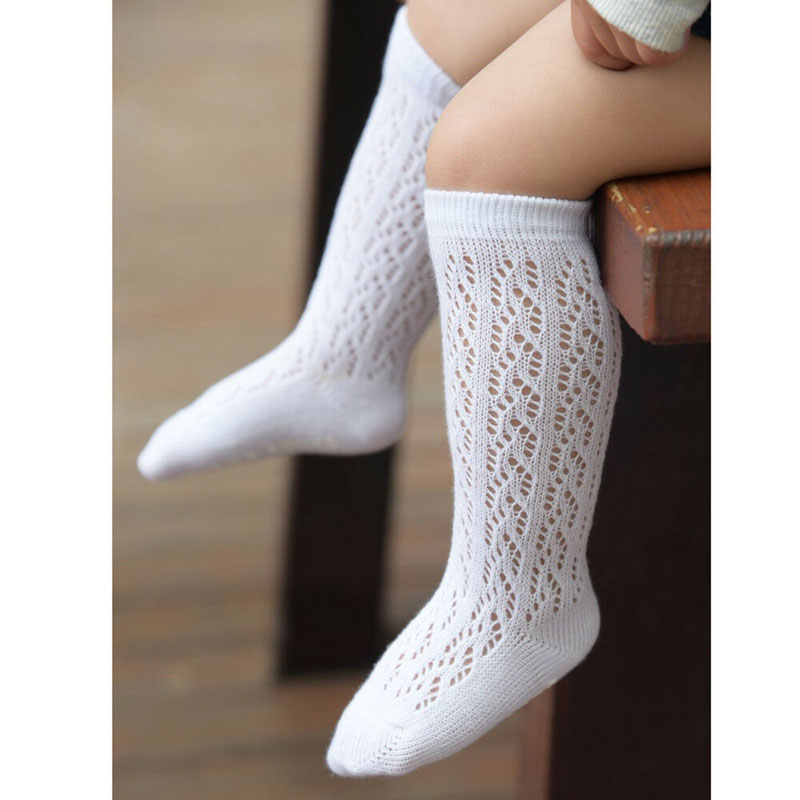 Baby Girl Kid Infant Toddler Cotton Knee High Princess Socks 0-4 Years Hollow Out Girls White Hot Sell