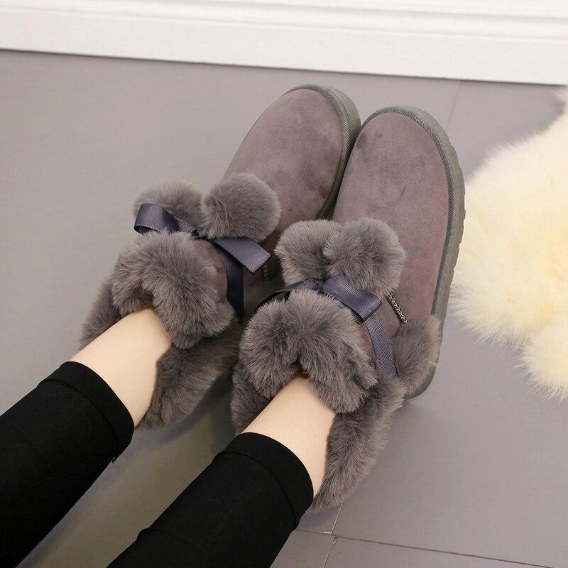 Arc cheveux boule neige bottes femmes Tube court fourrure sauvage Tube neige coton chaussures femmes 2019 nouveau daim femmes bottines