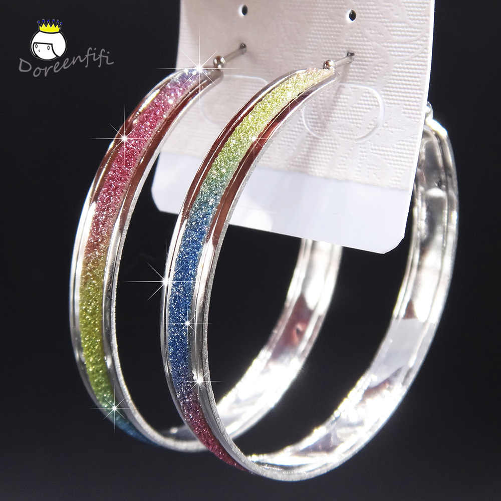 Fashion Hot Sale New Frosted Silver Rainbow Printed Women Large Big Hoop Earrings Party Jewelry Female Gift Earring Pendientes