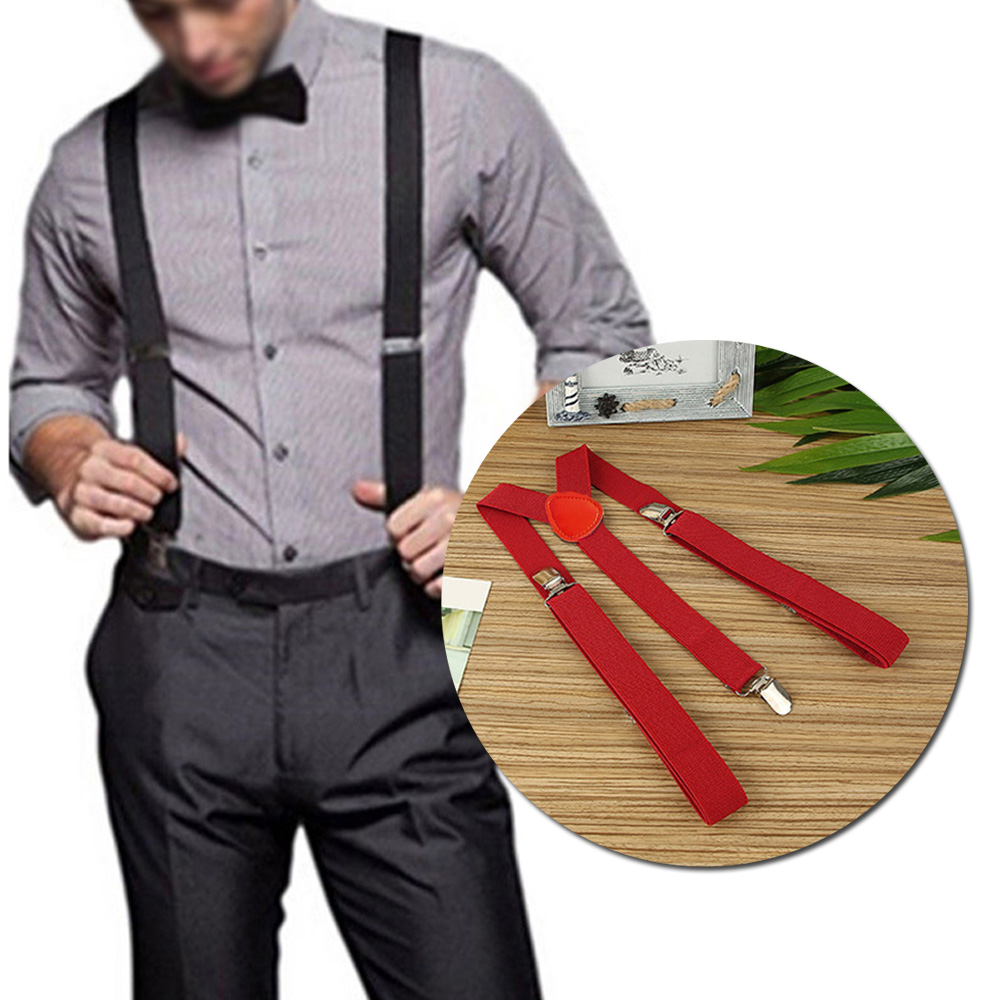 Women Men Suspenders Solid Color Elastic Suspenders Black Adjustable Braces Y-Back  Clip-on Casual Formal