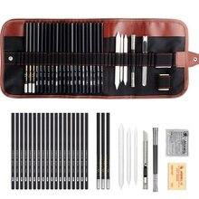 29 pcs/set Sketch Pencil Set Professional Sketching Drawing Kit Wood Pencil Pencil Bags Painter School Students Art Supplies