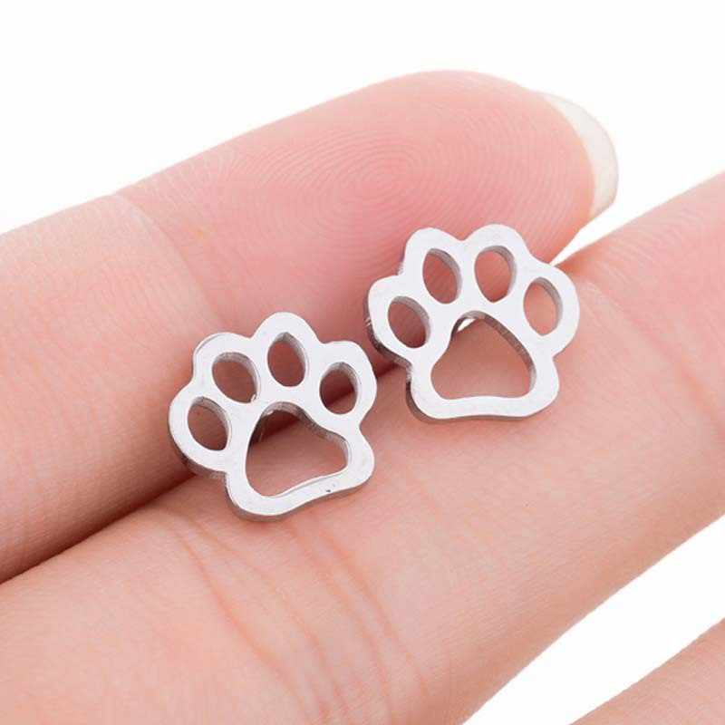 Trendy Cat Dog Paw Earrings for Women Party Jewelry Vintage Hollow Stud Earrings Animal Jewelry Pet Lovers Gift Bijoux