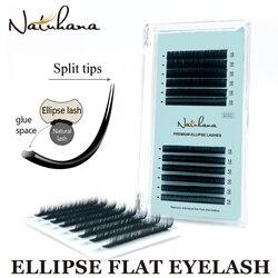 NATUHANA BCD Curl Matte Ellipse Flat Eyelash Extensions Individual Mink Soft Flat Lash Split Tips Ellipse Shaped False Eyelashes