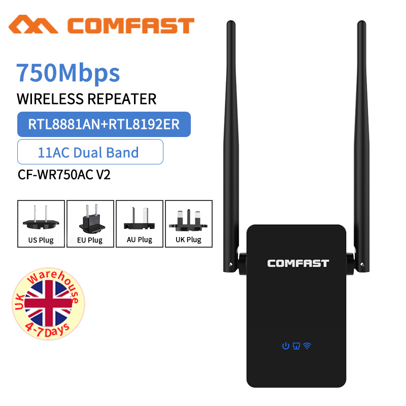 New! COMFAST CF WR750ACV2 Wireless WIFI Repeater 750Mbps Routers Dual Band 5Ghz 802.11AC Wi fi Roteador Extender Wifi Amplifier|wifi repeater 750mbps|wifi repeater|router dual - title=