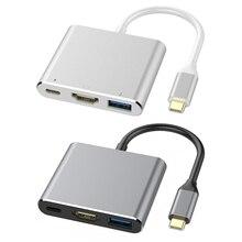 3 in 1 USB 3.1 HUB Converter Aluminum Alloy Installa Remove Convenient Simple USB3.0 Type-C PD 4K HDMI-compatible Adapter