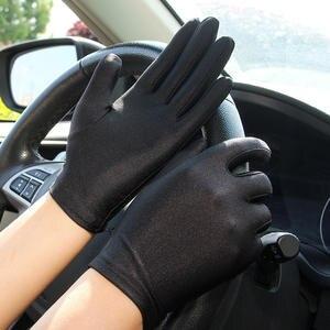 Spandex Gloves Mittens Sun-Protection Thin Sexy Black White Women Fashion Summer Short