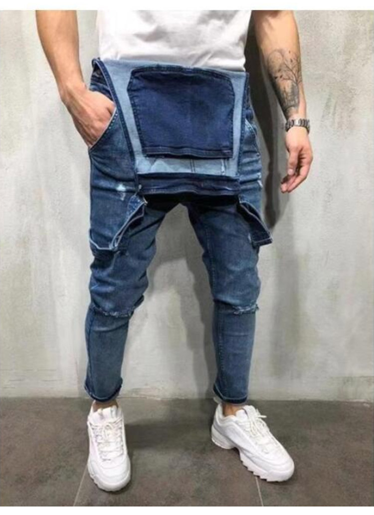 Men's Ripped Jeans Jumpsuits Work Coveralls Denim Bib Overalls For Male Retro Jeans Summer Sleeveless Protection Repairman (5)