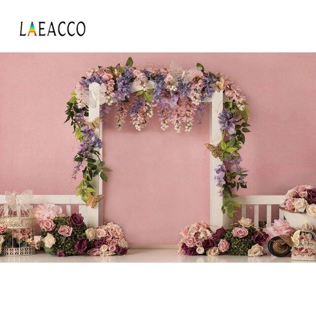 Laeacco rose printemps fleurs fête décor tente bébé nouveau-né fête danniversaire amour Photo fond photographie toile de fond Photo Studio