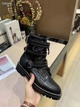 Women Black Ankle Boots Buckle Strap Rivet Shoes Female Genuine Leather Lace Up Motorcycle Boots Autumn Punk Boots Big Size 2019 luxury pom pom decor ankle boots lace up black leather ankle strap buckle round toe ridding boots flats women motorcycle boots