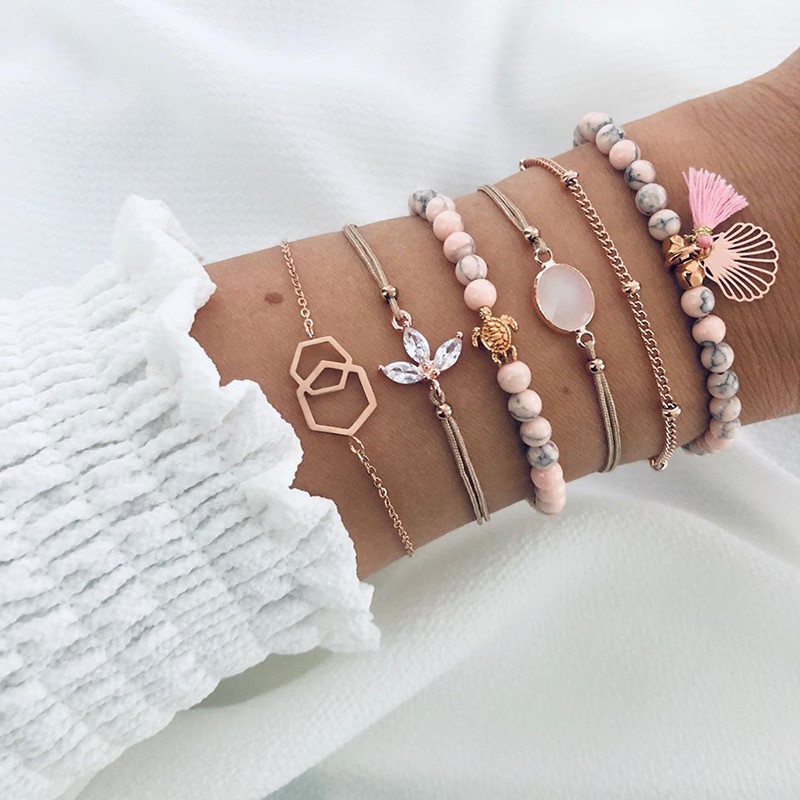 6 Pcs/ Set Women Bracelets Set Boho Gem Shell Turtle Leaf Bead Chain Leather Multilayer Bracelet Charm Lady Gold Jewelry Gift(China)