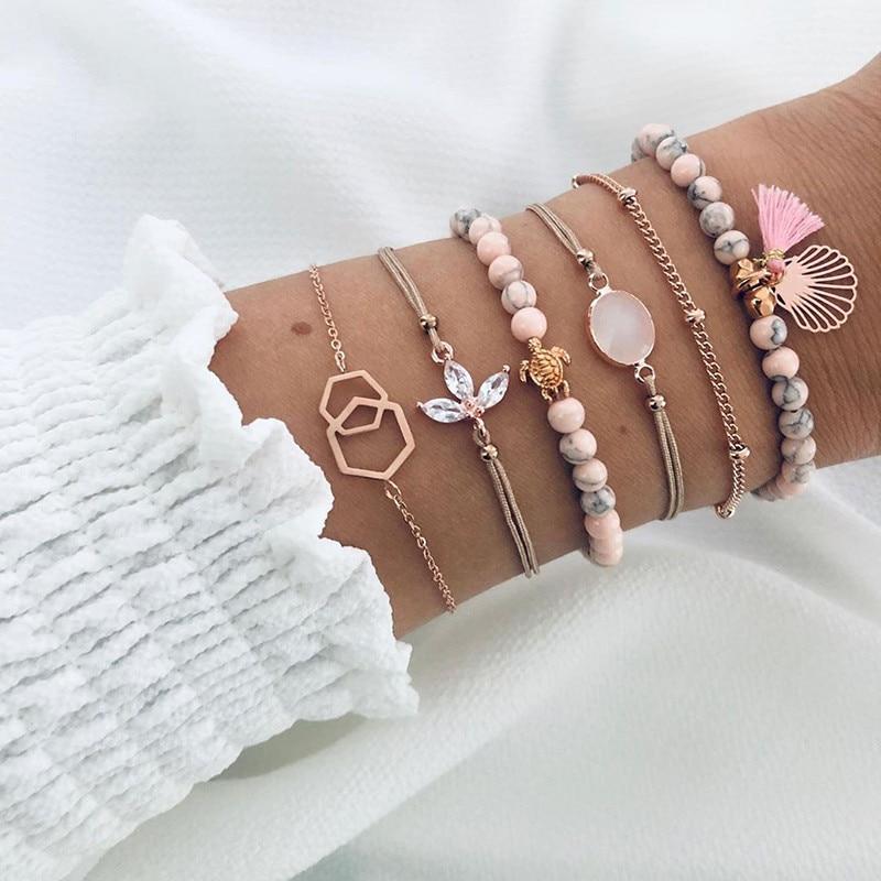 6 Pcs/ Set Women Bracelets Set Boho Gem Shell Turtle Leaf Bead Chain Leather Multilayer Bracelet Charm Lady Gold Jewelry Gift