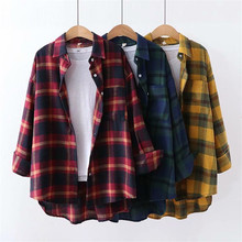 Lazy Loose Student Shirt Fashion Plaid Full Sleeve Women Blouse Turn-down Collar Office Lady Tops Thin Casual Long Autumn Blusas cotton long shirt fashion plaid turn down collar full sleeve office lady autumn women blouse plus size casual blusas student top