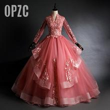 Quinceanera-Dresses Vintage Ruffles High 15-Anos Beaded Lace Organza Vestidos Long-Sleeve