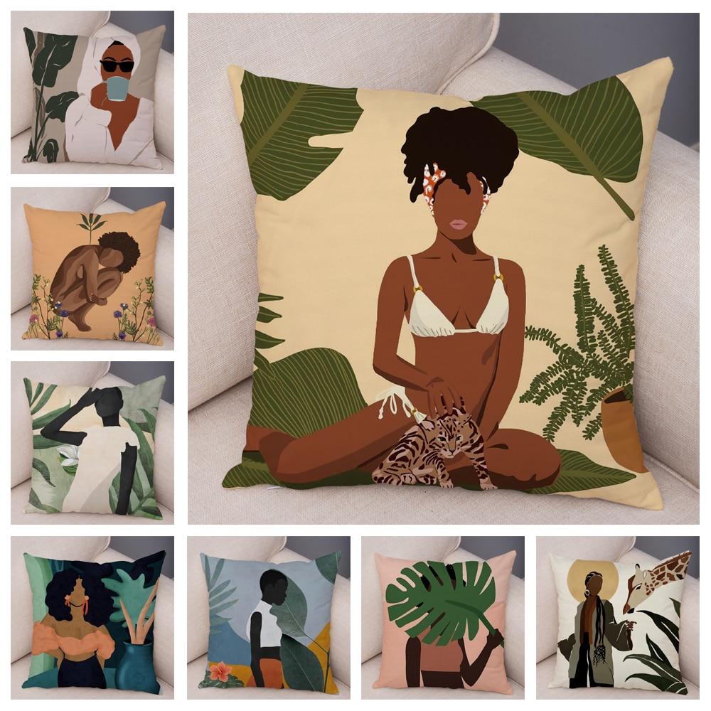 Soft Plush Black Africa Girl Pillow Case Decor Cartoon Geometric Beautiful Women Cushion Cover for Sofa Car Home Pillowcase