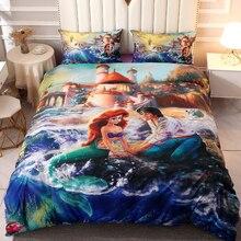Disney Mermaid Ariel and Eric Castle Bedding Set Children Women Quilt Cotton-bed Pillowcase Double Rear Yard Bedroom Decoration