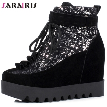 SARAIRIS New 31-43 Girls Fashion Glitters Booties Ladies Flat Platform Ankle Boots Women 2019 Height Increasing Shoes Woman