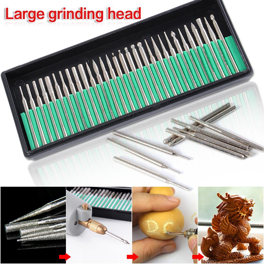 30PCS High Quality Diamond Polished Rod 3MM Jade Carving Tool Electric Grinding Head Engraving Polishing Jade Stone Drill Bit