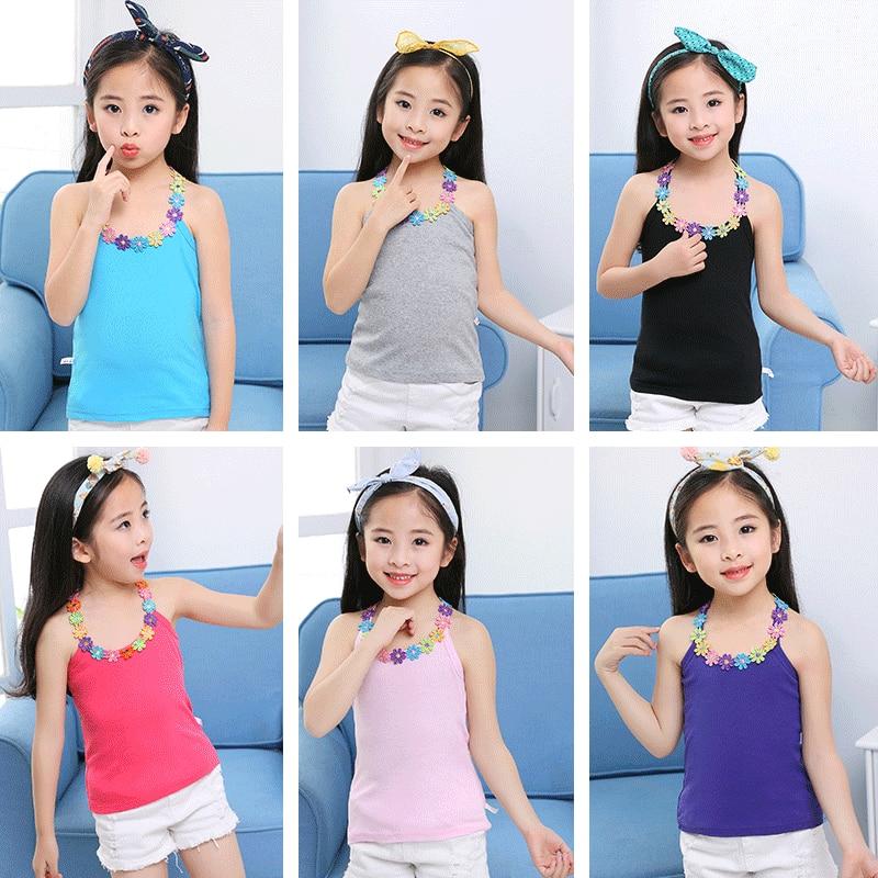 Kids T-Shirt Girls Tops Cotton Sleeveless Summer Baby New Garment Year for Tees Outwear