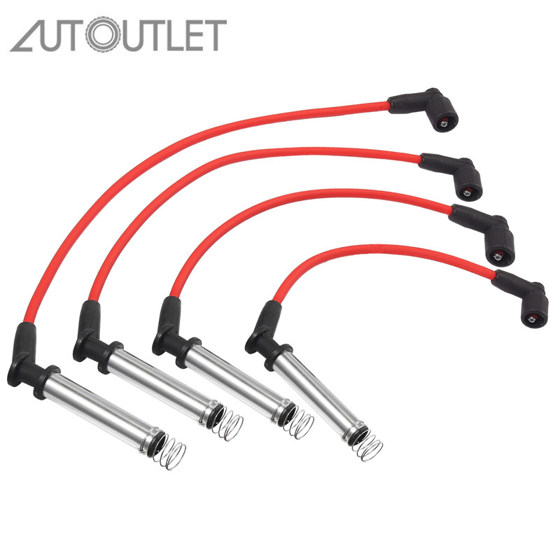 AUTOUTLET For 1214216 Consisting Of 4 Ignition Cables Spark Plug Ignition Cable Set 4-Piece For Ford Fiesta