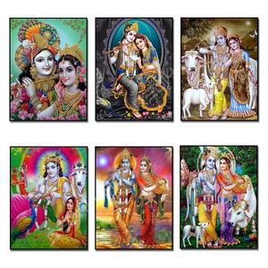 DIY Diamante Pintura Radha Krishna senhor Completo Quadrado/Rodada Strass Diamante do Ponto da Cruz do Bordado Frisado Decoração Da Parede De Mosaico