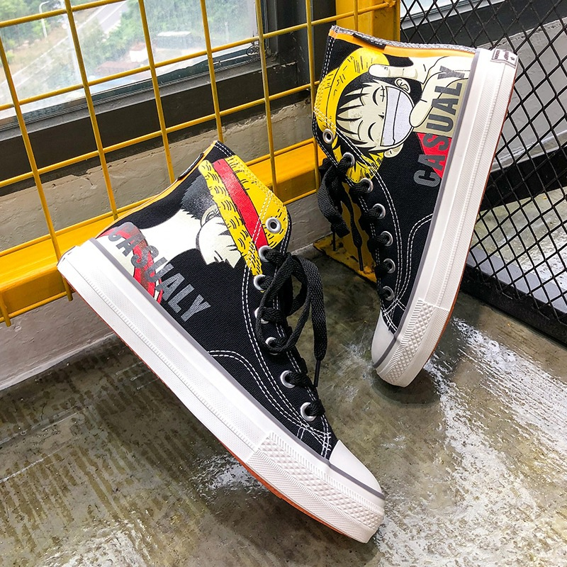 Summer Japan cartoon One Piece Cosplay shoes High Top Student flat Canvas shoes for Halloween Unisex Anime Luffy Board Shoes