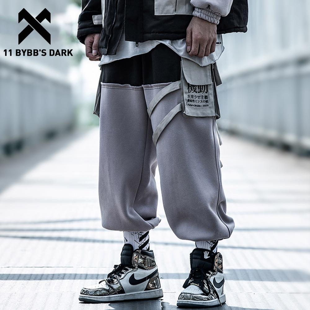 11 BYBB'S DARK Patchwork Pockets Thick Cargo Pants Men Ribbons Harajuku Hip Hop Sweatpants Casual JoggersTrousers Streetwear
