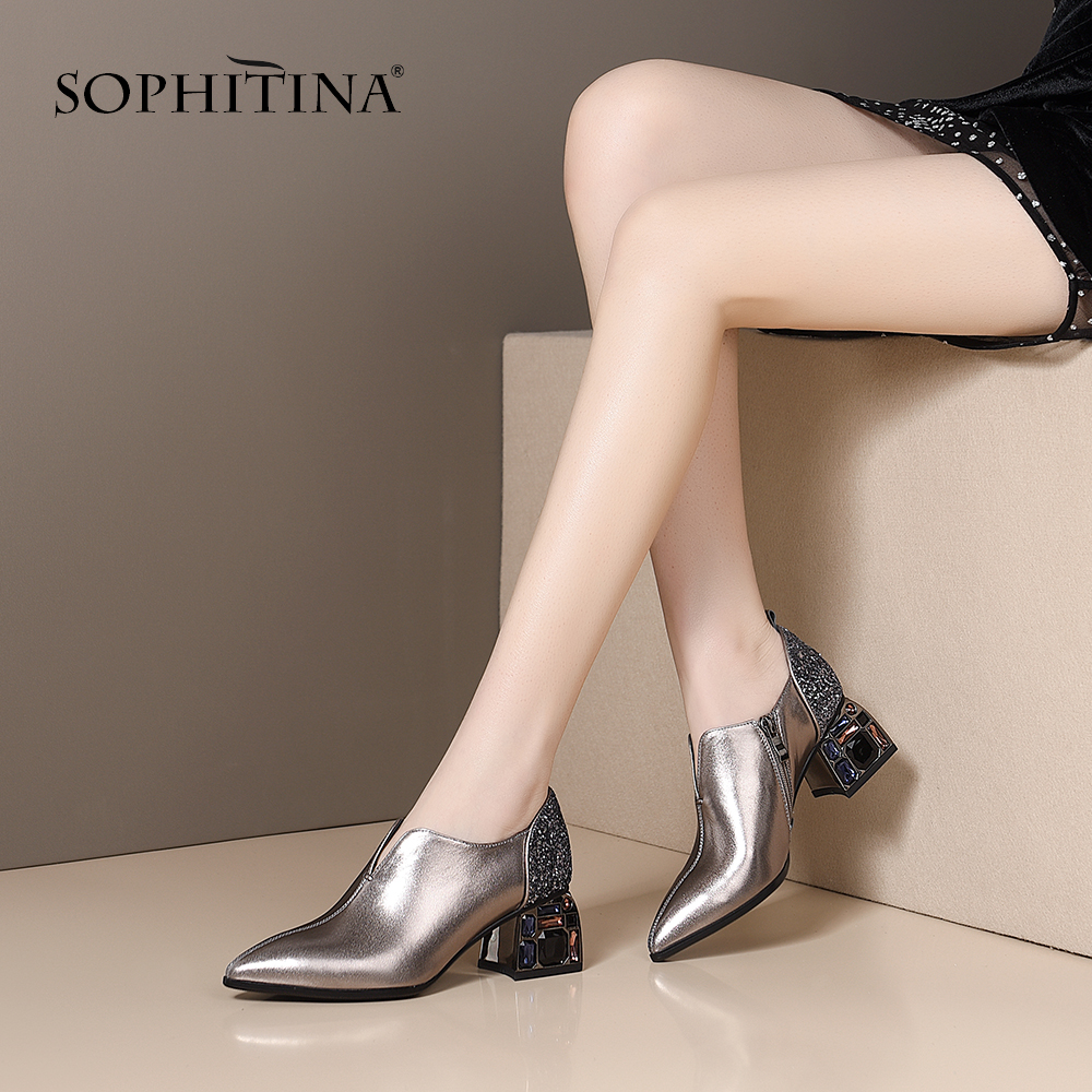 SOPHITINA Mature Pumps Women Pointed Toe Comfortable High Heel Bling Crystal Patchwork Shoes Fashionable Casual Sexy Pumps MO424