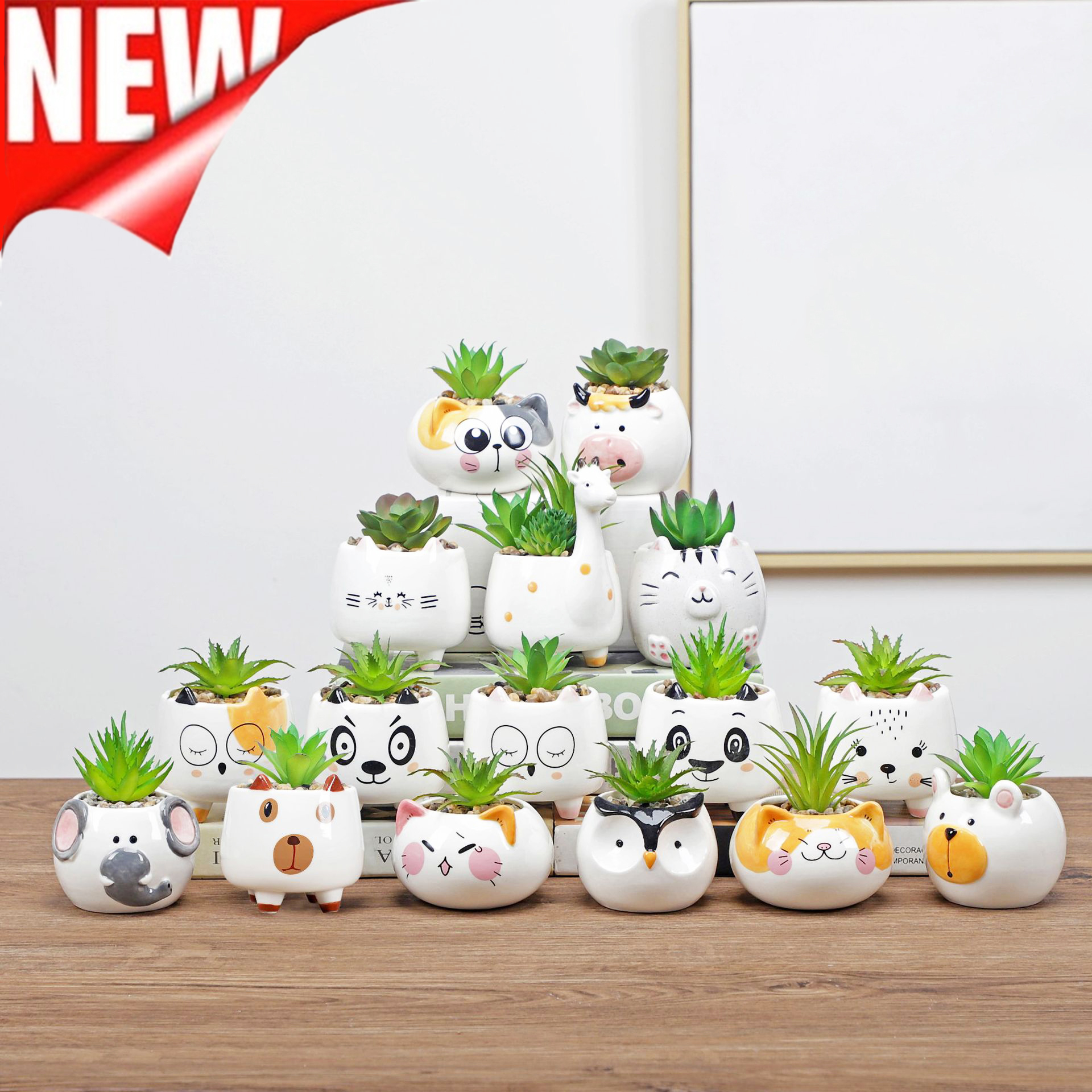 Cute Animal Flower Pot Ceramic Vase Planter Desktop Ornaments Home Decor Garden Pot Succulent Pot Plant Pot