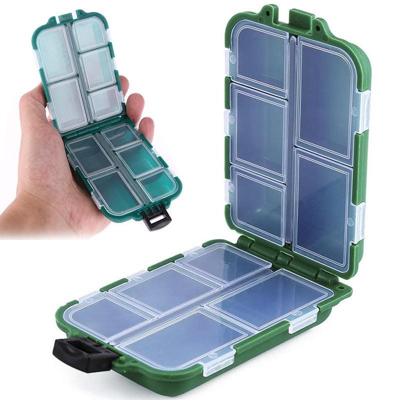 Mini boîte de rangement à 10 compartiments, boîte à matériel de pêche volante, cuillère de pêche, crochet, appât, boîte de rangement, accessoires de pêche 1
