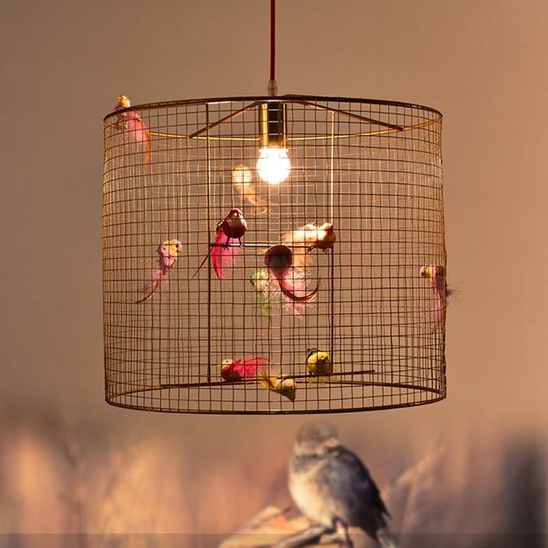 Современный Лофт Сельский ресторан люстра Мода гостиная кафе искусство золотая птица подвесная клеть лампа светильники Бесплатная достав