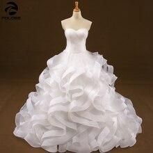 Organza Ruffles suknia ślubna suknie ślubne Sweetheart bez rękawów długa suknia ślubna zakładka Sweep pociąg suknie ślubne 2020
