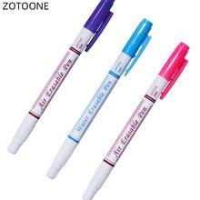 3 adet çift kafa pembe mavi mor hava su silinebilir kalem kumaş Marker suda çözünür otomatik olarak kaybolan kalem dikiş aracı G