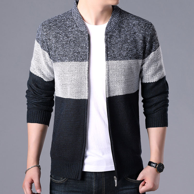 Winter Polo Neck Sweater Korean Cardigan Sweater Men's Warm Top Plus Plush and Thickened Knitwear Coat Man, Men Sweater