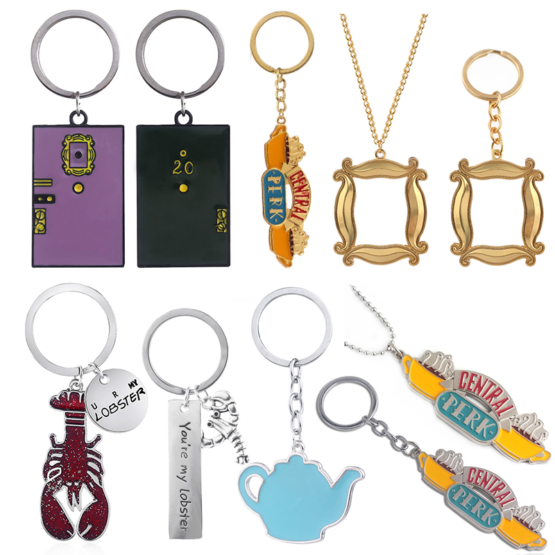 Classic Friends TV Show Gifts Keychains Central Perk Coffee Time Lobster Pendant Key Chain For Best Friends Souvenir Jewelry image