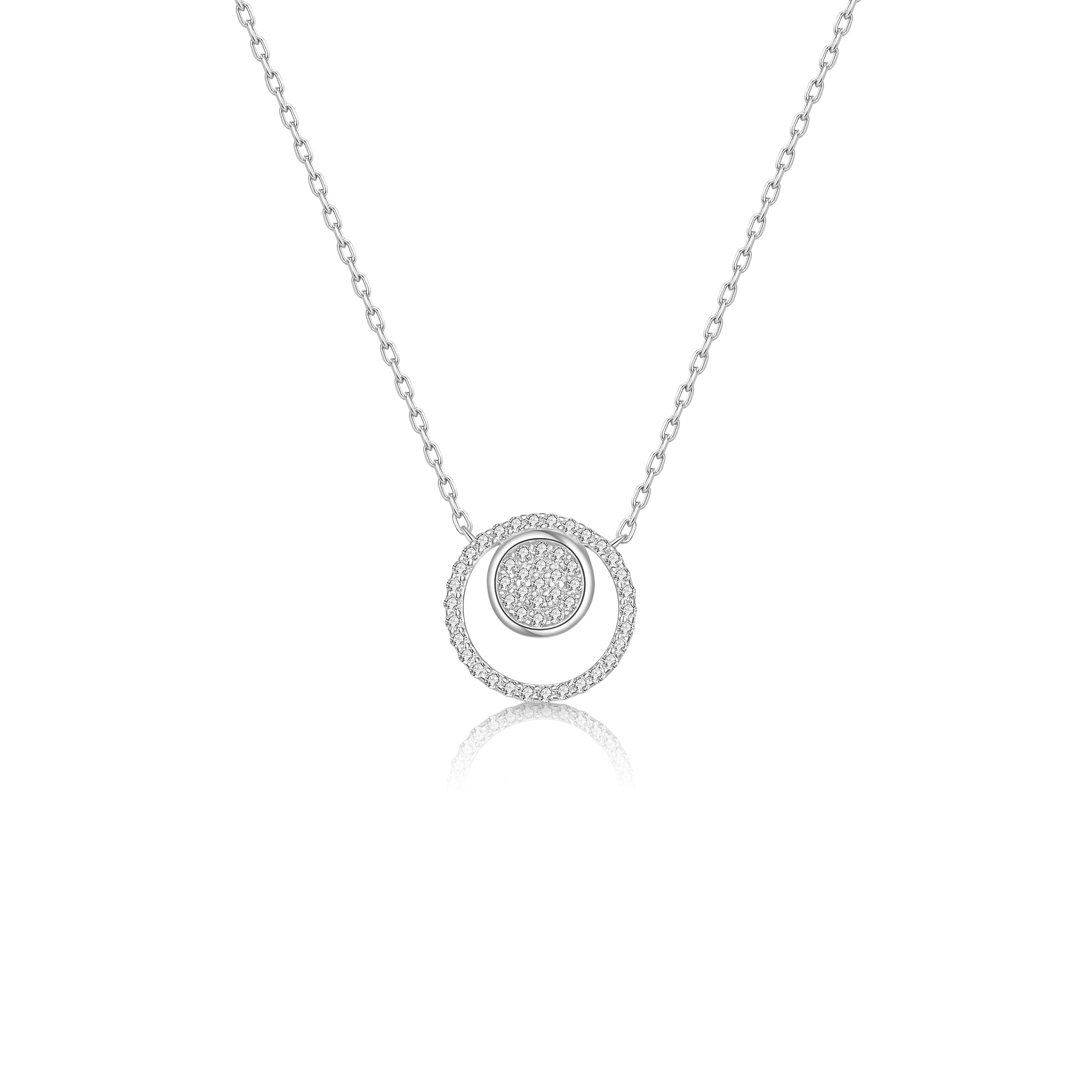 2020 Fashion 925 Sterling Silver Double Round Necklace Womens Pendant Necklaces Trendy Female Party Girl Jewelry(China)