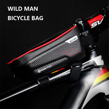 WILD MAN Bicycle Phone Bag MTB Front Beam Package Waterproof Saddle Bag Screen Touch Top Tube Phone Bike Bag Cycling Equipment cbr outdoor cycling bike touch screen top tube bag black grey