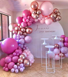 126pcs Hot Pink Chrome Rose Gold Balloon Arch Garland Wedding Birthyday Baby Shower Party Background Decor Globos Kids Toys