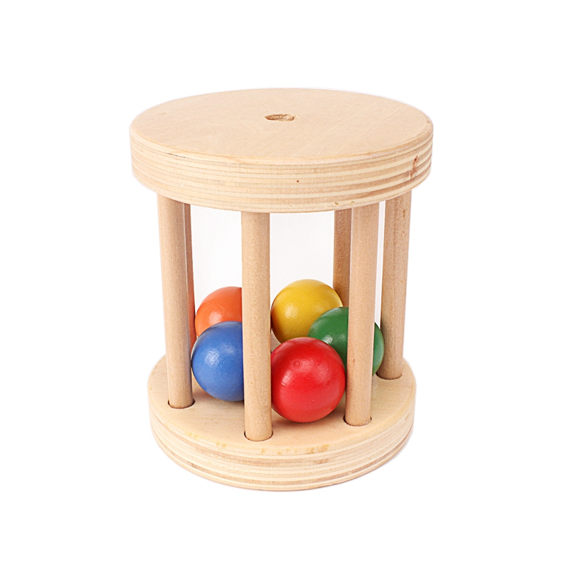 Baby Montessori Wooden Cage Bell Educational Toy Music Sound Bell 5 Beads Toy Brain Early Development Toys For Toddlers 3 Months
